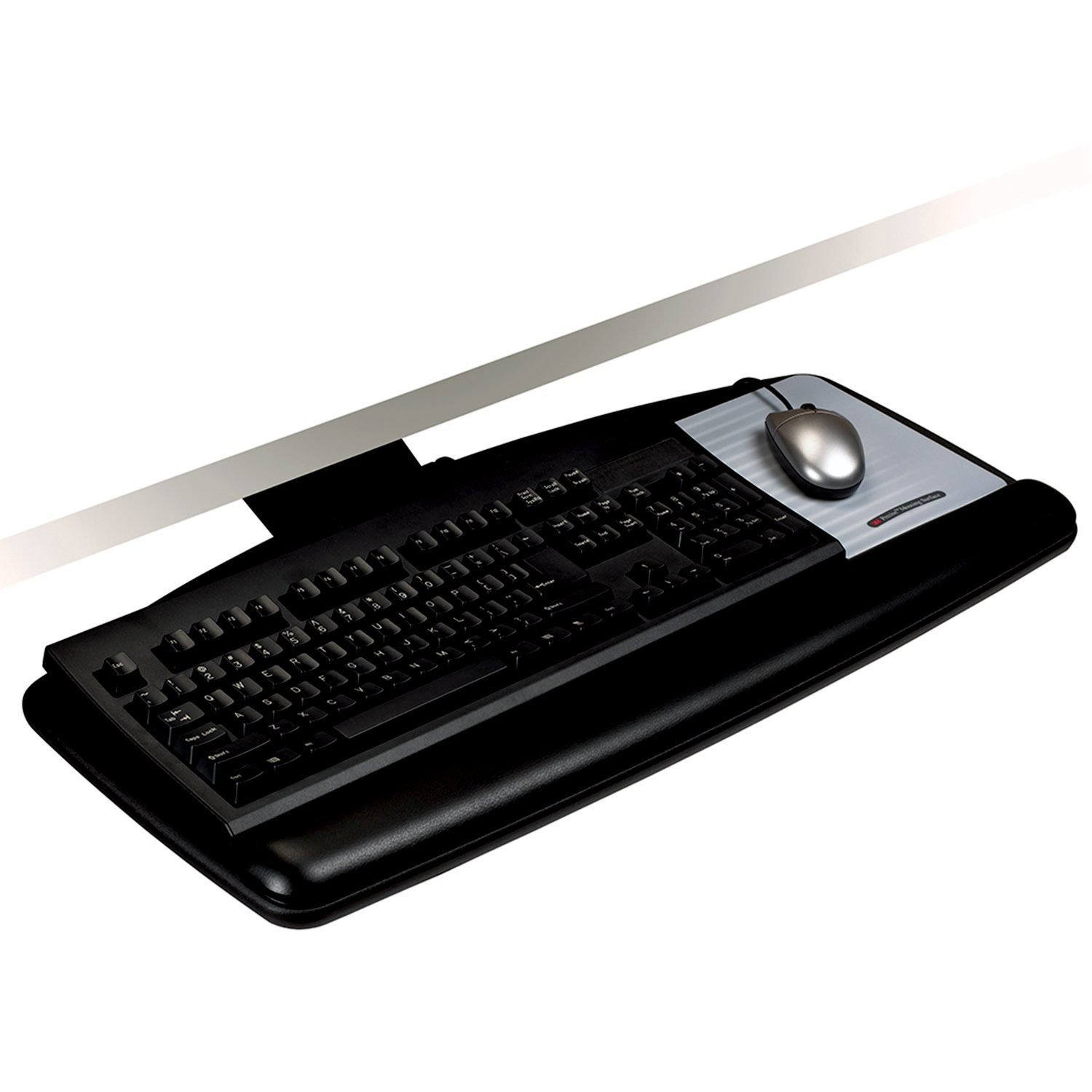 3M Knob Adjust Keyboard Tray, Standard Platform with Antimicrobial Gel Wrist Rest and Precise Mouse Pad, 17-inch Track, Black (AKT60LE)