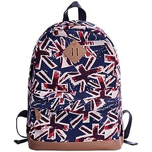 HONEYJOY Cute Print Canvas School Backpack Laptop Bag Travel Rucksack Casual Daypack (Large, 06)
