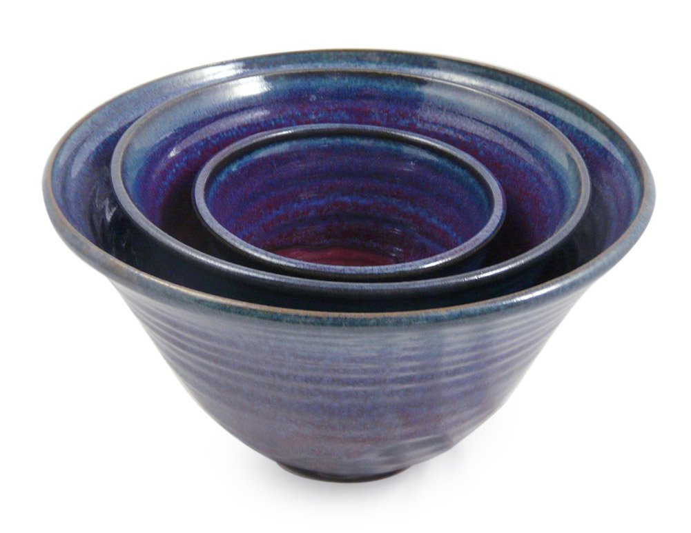 Plum Perfect 3-Piece Large Nesting Mixing Bowl Set, American Made Stoneware Pottery by Modern Artisans (Image #3)