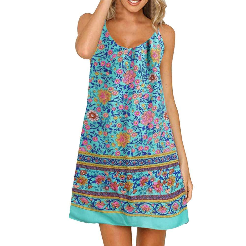 LIM&Shop Women Summer Cami Dress Top Spaghetti Strap Mini Dress Tank Casual Floral Print Ruffles Hem Swing Skirt A-line Blue by LIM&SHOP-Women Dresses