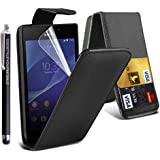 STYLEYOURMOBILE SONY XPERIA Z (C6603) VARIOUS PU LEATHER MAGNETIC FLIP CASE SKIN COVER POUCH + STYLUS, BLACK AND WHITE, MOBILE