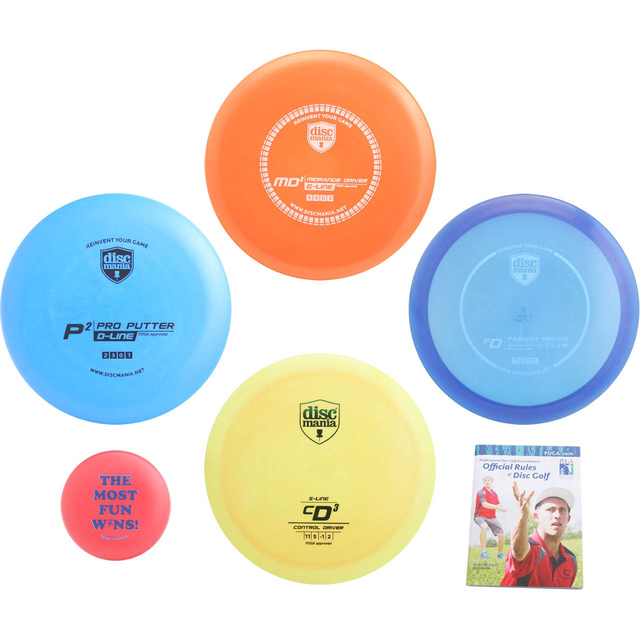 Discmania Complete Disc Golf Variety Gift Set - Distance, Fairway, Mid-Range & Putter + Mini Marker Disc, Rules (6 Items, Colors May Vary) (4 Discs (Distance, Fairway, mid-Range, Putter, Extras))