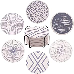 ALHONLY Set of 6 Coasters for Drinks Absorbent with Holder Stone Coaster with Cork Backing Set for Birthday, Housewarming - Protects Furniture from Damage
