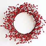 18inch Large Fall Harvest Garland Red Berry Christmas Wreath Décor (Small Image)