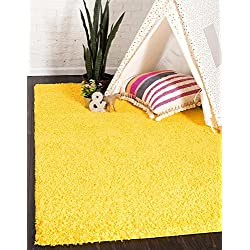 Unique Loom Solo Solid Shag Collection Modern Plush Tuscan Sun Yellow Rectangle (2' x 3')