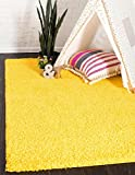 Unique Loom Solid Shag Collection Tuscan Sun Yellow Area Rug (2' x 3')