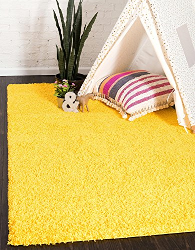 Unique Loom Solid Shag Collection Tuscan Sun Yellow 4 x 6 Area Rug (4' x 6') (Collection Garden Tuscan)