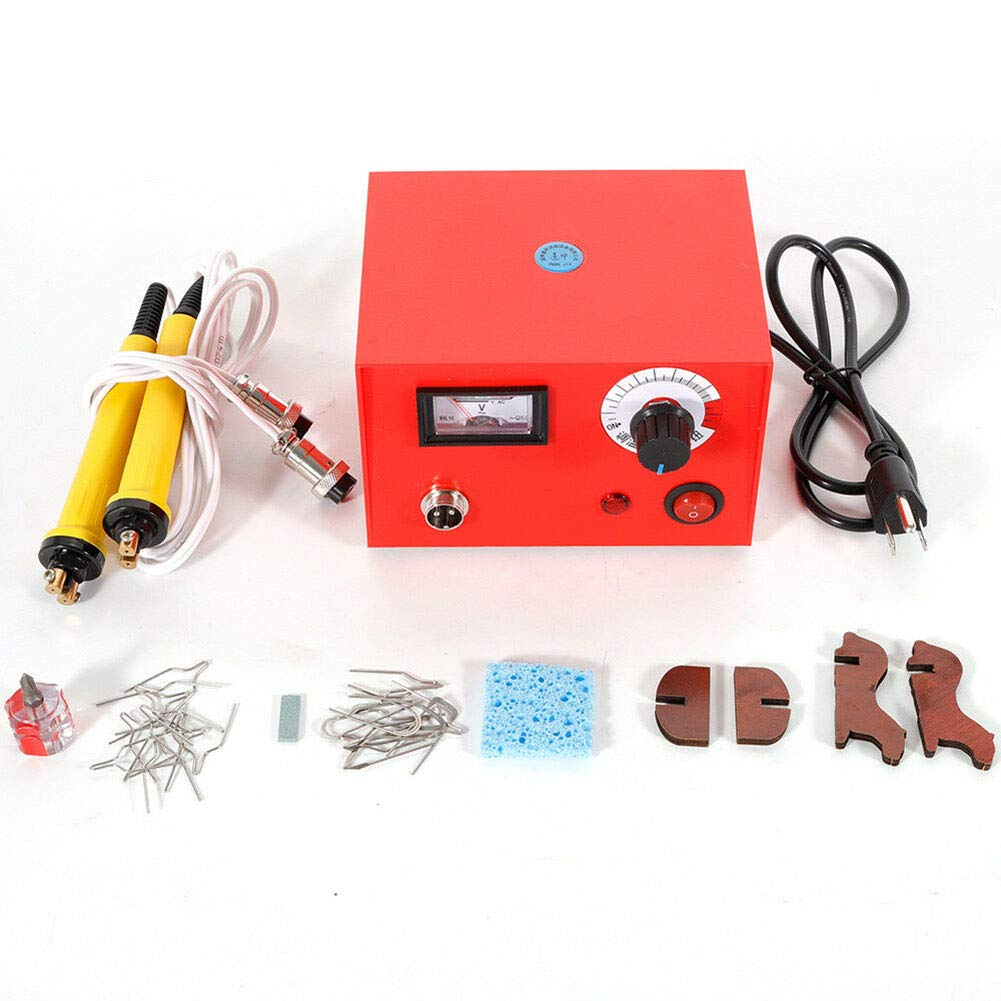 Wood Burning Machine Kit 20 Tips, Dual Pen 110V 50W Pyrography Machine, Digital Temperature Adjustment and Electric Wood Burning Detailer for Wood/Leather/Gourd, Red (50) by US DELIVER