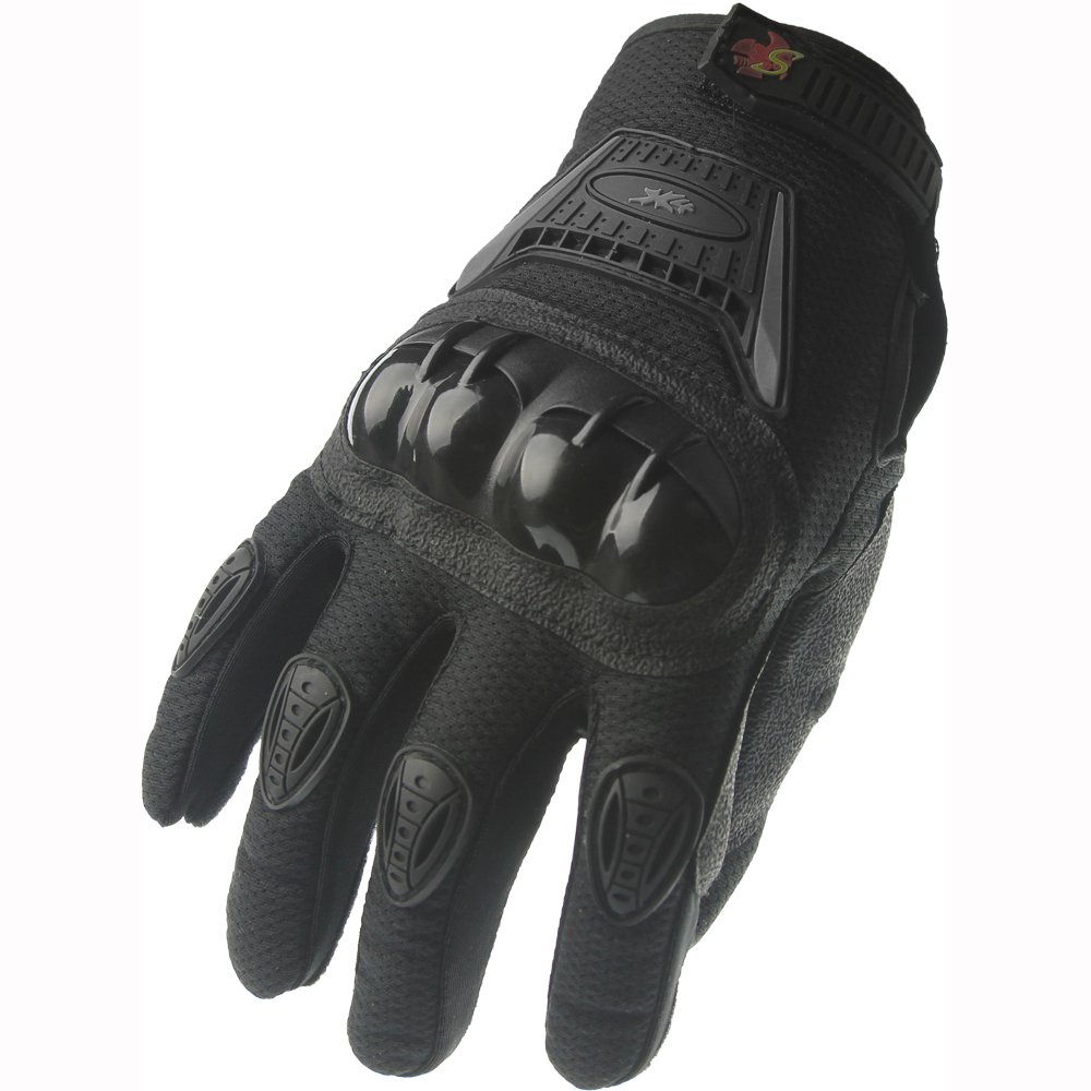 Street Bike Full Finger Motorcycle Gloves 09 (Large, black) by X4