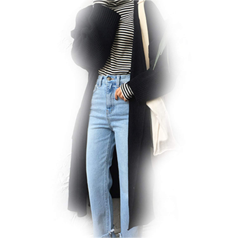 28f1cd2e54 Amazon.com  Yakke Hoodies Korean Long Cardigan Women Autumn Fashion Long  Knitted Sweater Female Oversized Tops Fall Casual Bla  Clothing