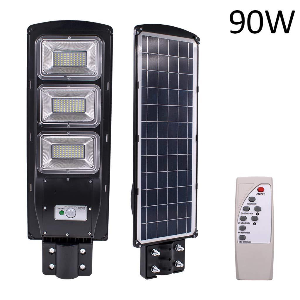 KCPer 30/60/90W Solar Street Light, LED Solar Street Light PIR Motion Sensor Wall with Timing Lamp Remote (A) (C 90W)