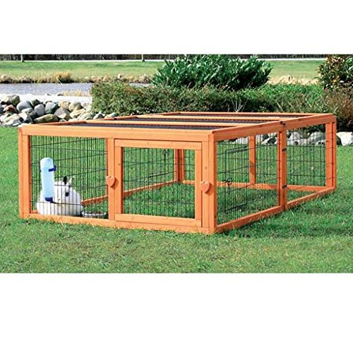 Outdoor Run with Cover (L), This Durable Outdoor Run With Mesh Cover Prevents Your Small Pets From Getting Loose And Protects Them From Unwanted Visitors (Lattice Patio Cover Open)
