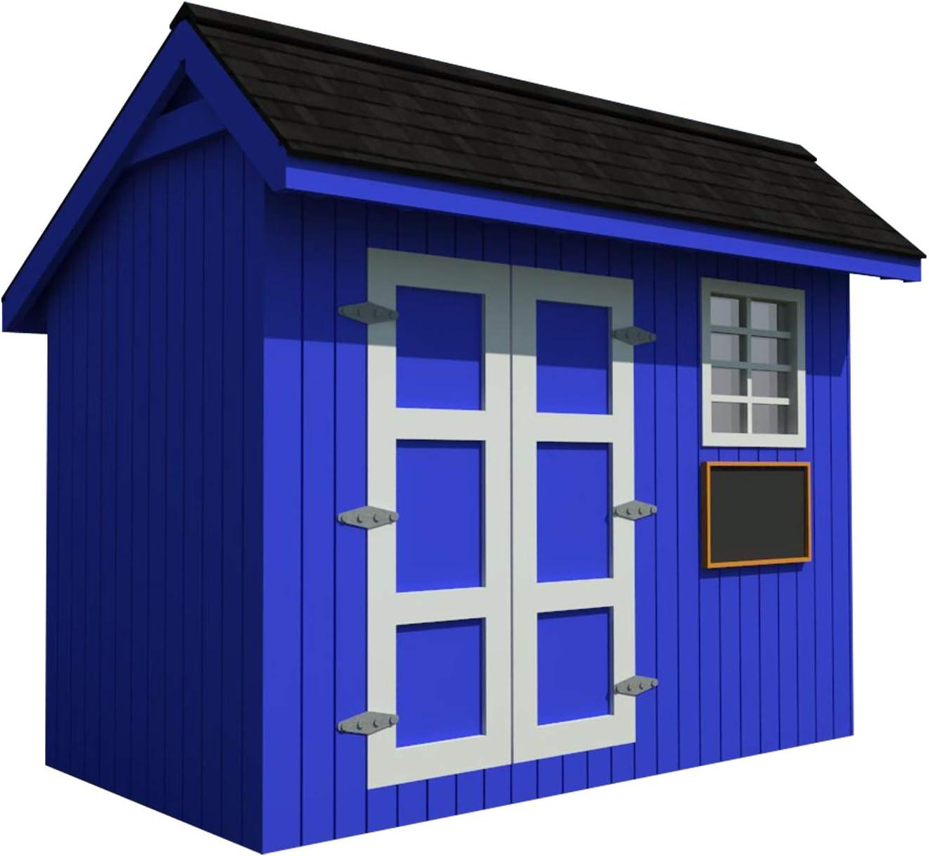 Playhouse Plans DIY Backyard Storage Shed Workshop Mini Kids Cottage Guest House