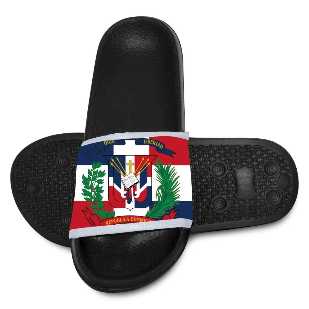 Qujki Kids Dominican Flag Beach Sandal Non-Slip Bath Slipper Black