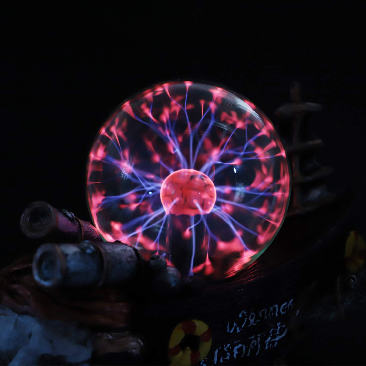 Qisheng Sailboat Plasma Ball Lamp Touch Sensitive,Party Magical Electrostatic Red Color Crystal Ball for Christmas Qisheng ltd