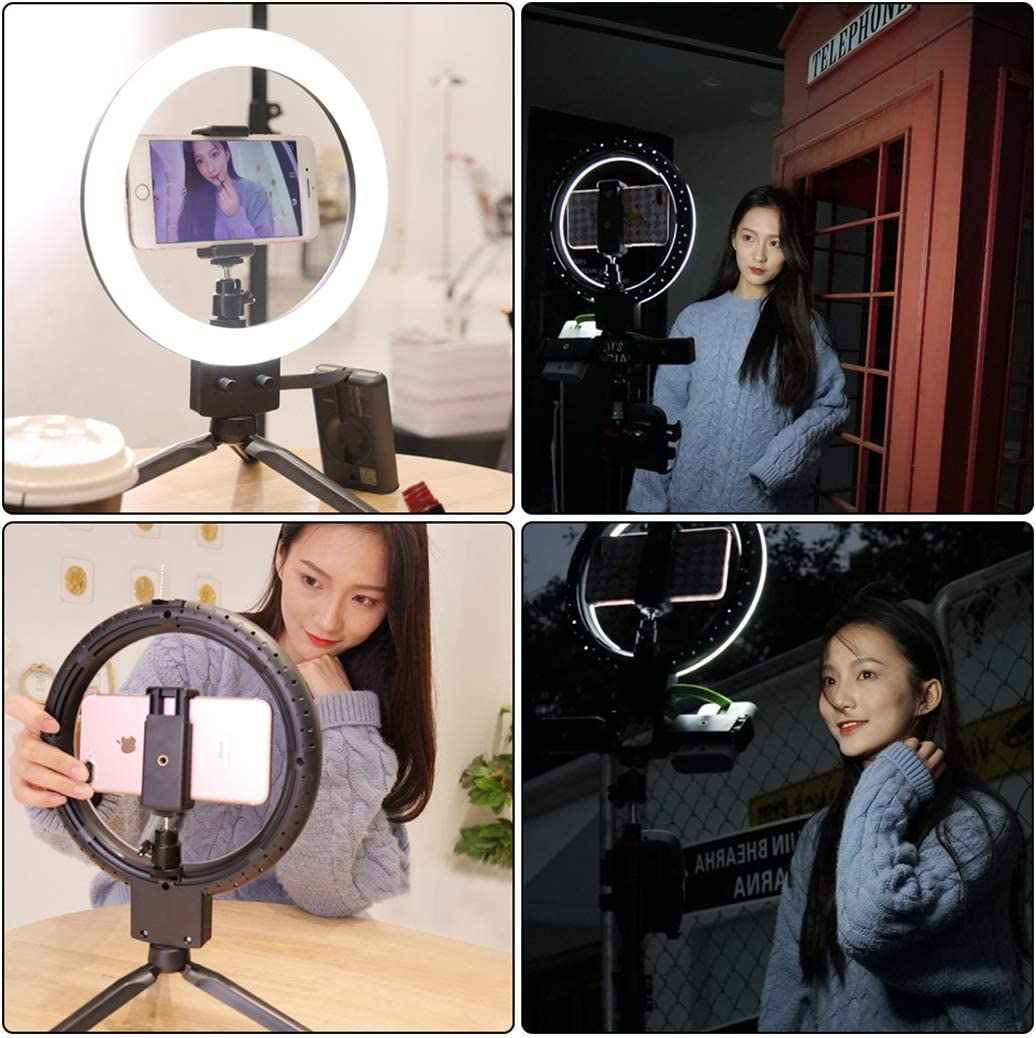 WongPing 9 Selfie Ring Light with Tripod Stand /& Cell Phone Holder for YouTube Video//Live Stream//Makeup Dimmable LED Camera Light Desktop Light Ring 80 Led Lamp