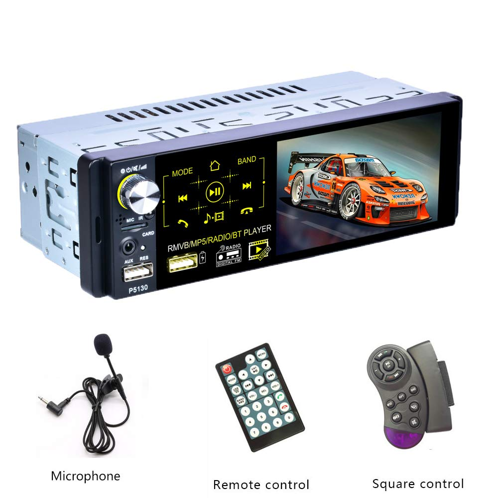 Podofo Single Din Car Stereo - Bluetooth Car Radio with RDS Turner Car MP5 Multimedia Player Support Steering Wheel Control/USB/Reversing Camera/Subwoofer/Microphone/AUX-in/TF Card