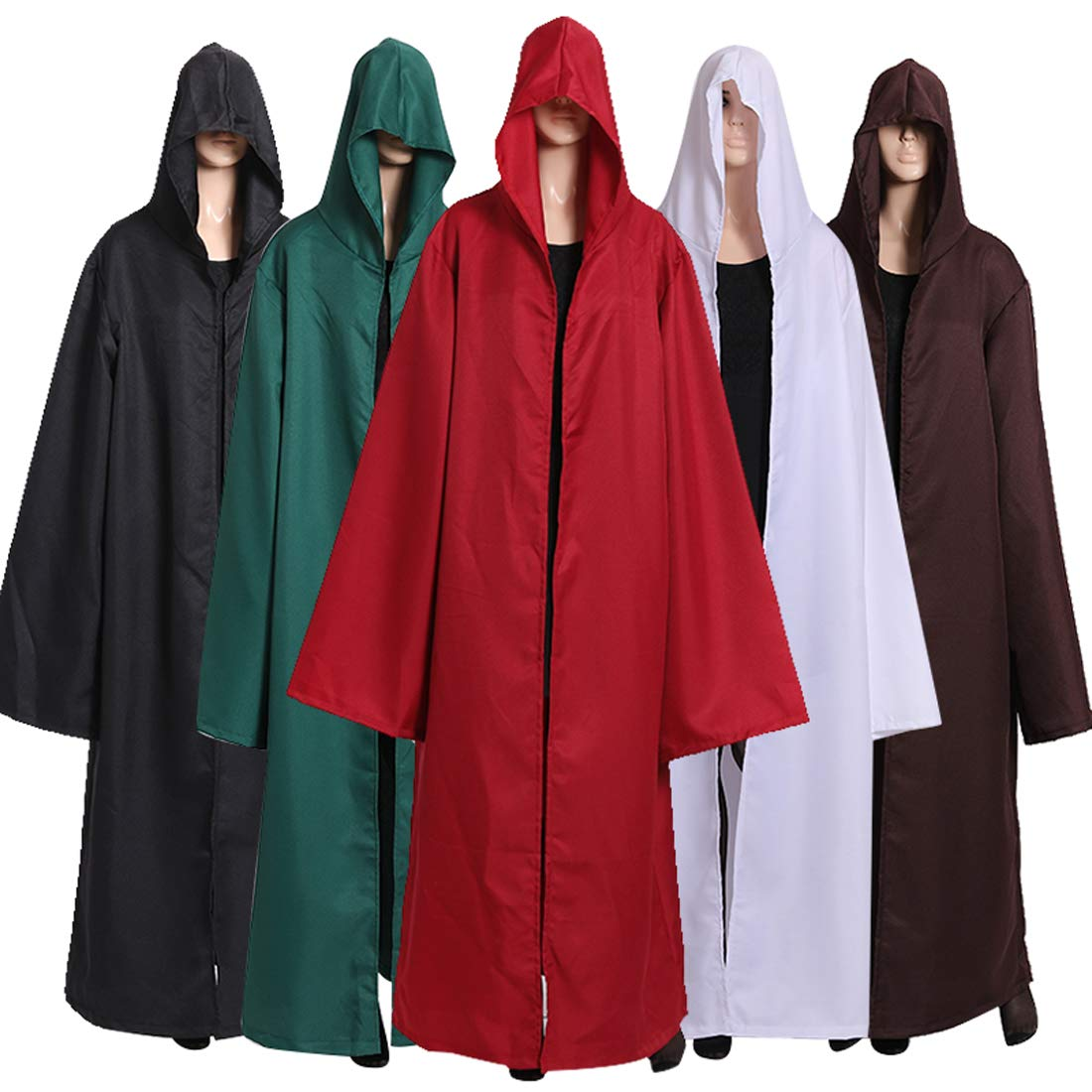 Wgior Men Tunic Hooded Robe Cloak Knight Fancy Cool Halloween Cosplay Costume (L, Red) by Wgior (Image #4)
