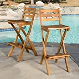 Christopher Knight Home 295797 Atlantic Outdoor Folding Wood Bar Stools For Sale