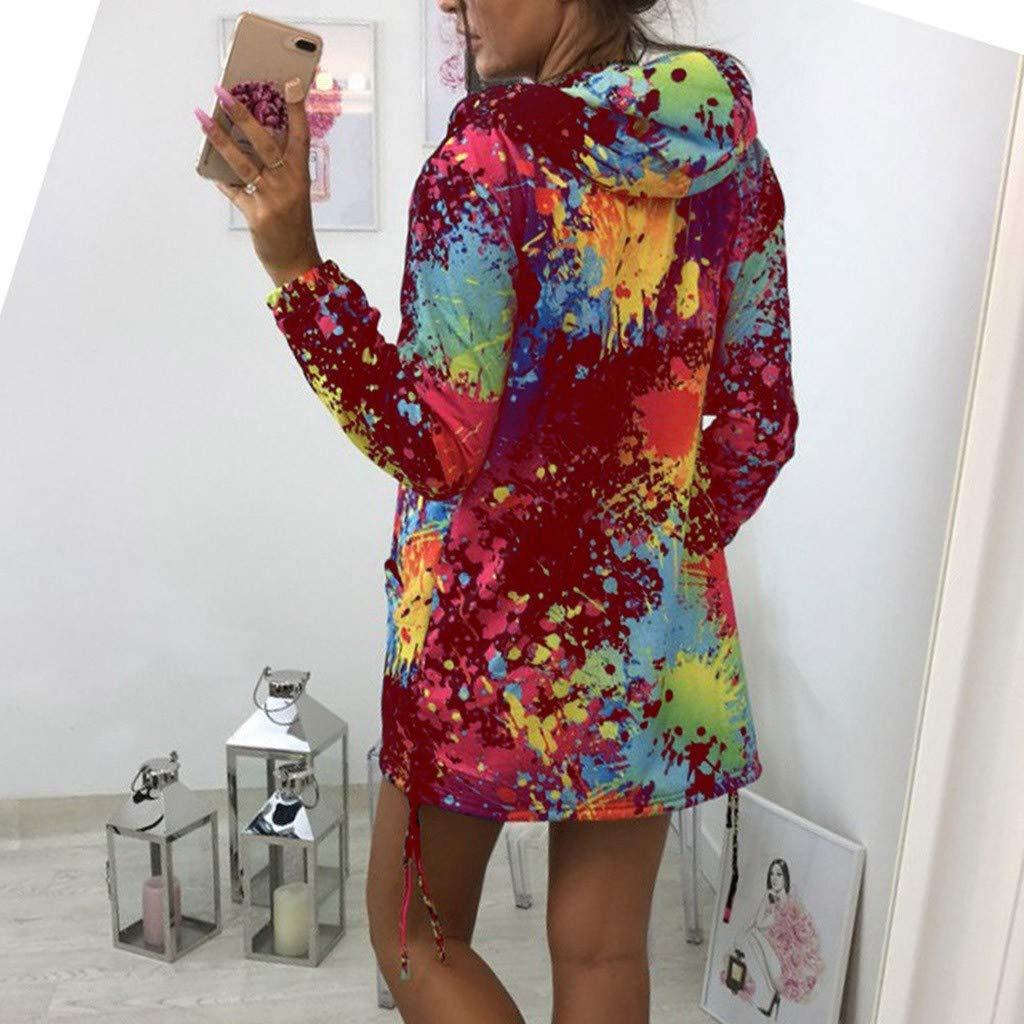BPSZD Womens Hooded Tie Dyeing Print Coat Sweatshirt Jacket Overcoat Outwear