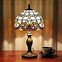 Frideko Retro Tiffany Diameter 20CM Lampshade Bedside Table Lamp for Bedroom Bar Cafe Restaurant (Type X)