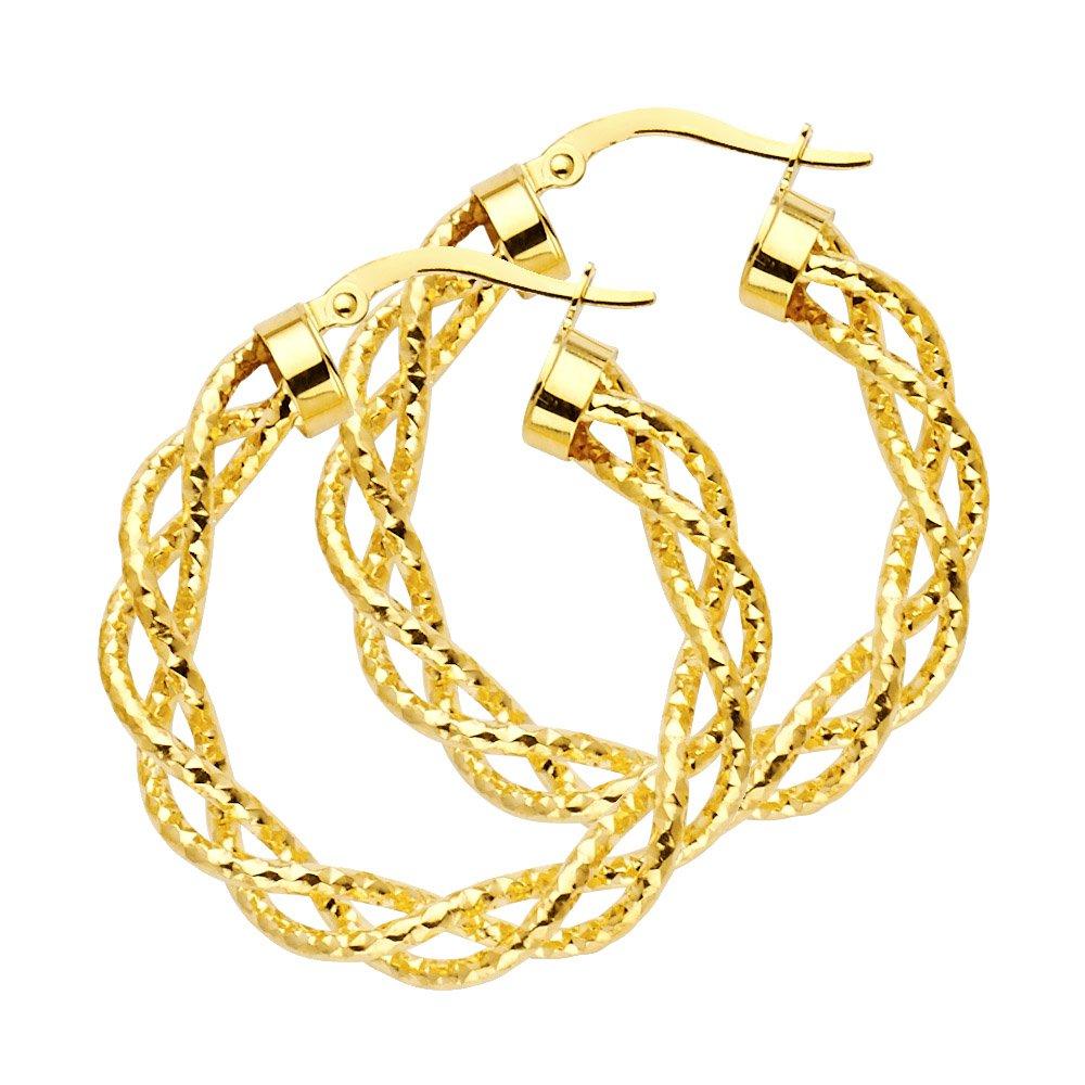 14K Yellow Gold 3mm Thickness Twisted Open Diamond-Cut Hoop Hinged Earrings Ioka