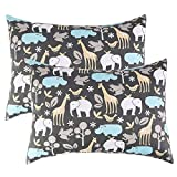IBraFashion Toddler Pillowcases for Boys and Girls 14x19 For 13x18, 12x16 Pillow 100% Cotton Animals in the Jungle Printings Set of 2