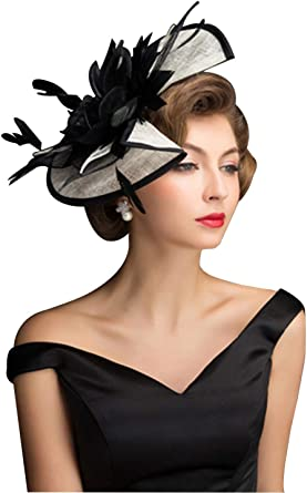 Women Wedding Races Sinamay Fascinator Church Derby Flower Feather Hat Hair Clip