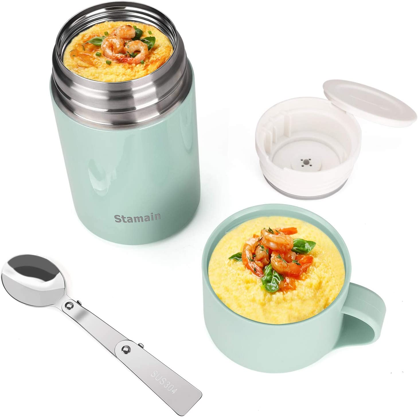 Insulated Lunch Container,Hot Food Jar,20oz Stainless Steel Vacuum Hot & Cold Food Jar with Folding Spoon,Leak Proof Lunch Box Soup with Spoon for School,Office,Picnic,Travel Outdoors,Green