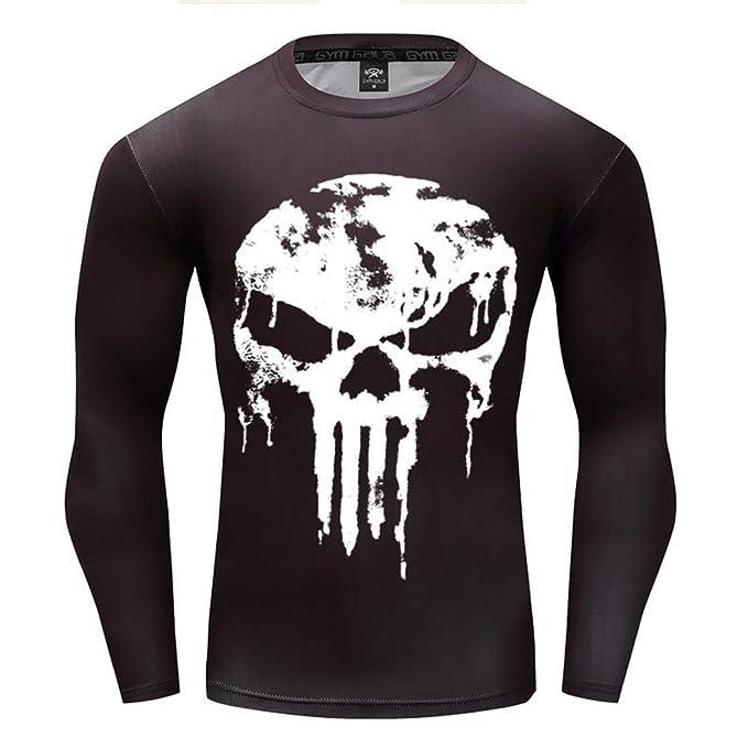 313088e8 Moit Punisher Compression Shirt Men Long Sleeve T Shirt (S): Amazon ...
