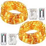 Image of GDEALER 2 Pack Fairy Lights Fairy String Lights Battery Operated Waterproof 8 Modes 60 LED 20ft String Lights Copper Wire Firefly Lights Remote Control for DIY Wedding Party Dinner (Warm White)