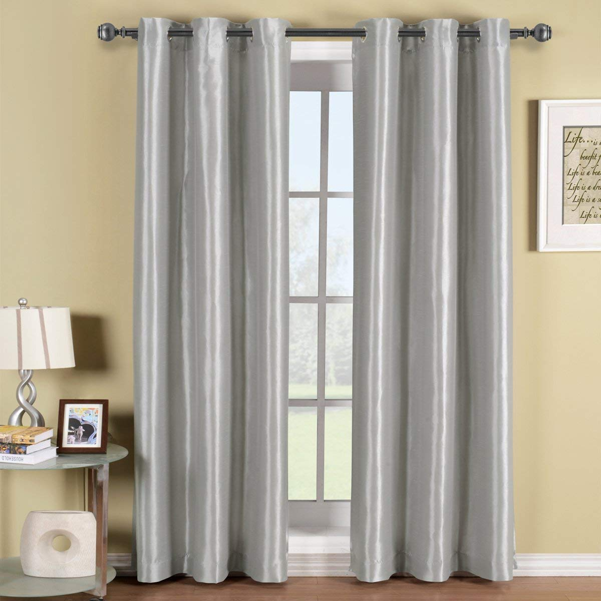 Royal Hotel Soho Silver Grommet Blackout Window Curtain Panel, Solid  Pattern, 42x96 inches