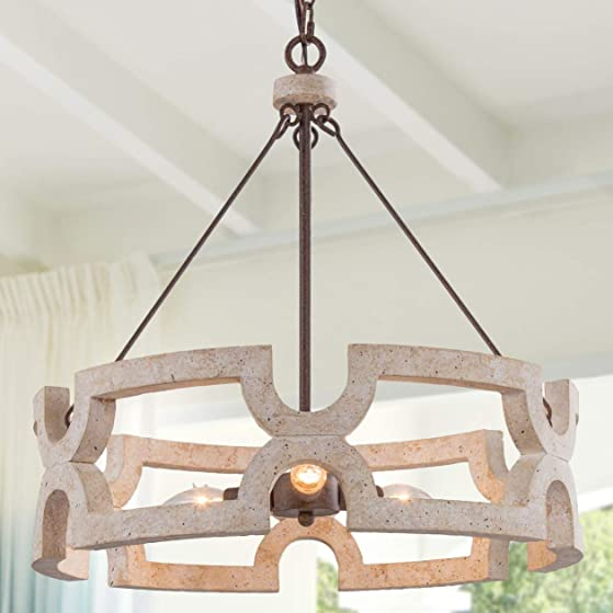 LALUZ Wood Farmhouse Chandelier
