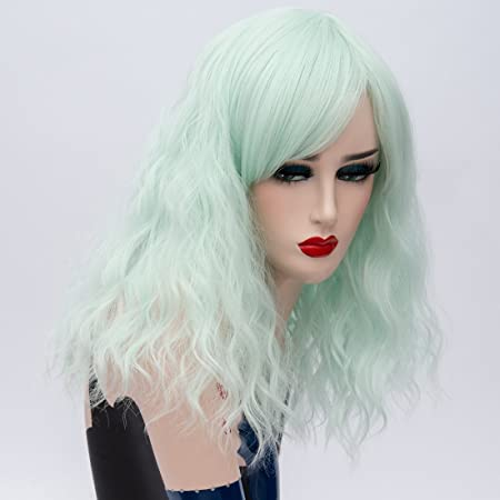 Amazon.com: Alacos 45CM Short Curly Lolita Harajuku Christmas Party Costumes Cosplay Wigs for Women +Free Wig Cap (Neon Green): Beauty