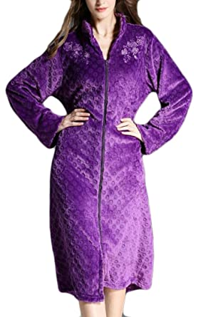 a4569e1880 Image Unavailable. Image not available for. Color  GAGA Women Stand Collar  Long Sleeve Soft Plush Zip-Front Bathrobe ...