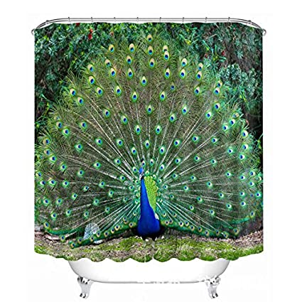 Hersent Beautiful Peacock Shower Curtains Wide Bird Feathers Mildew Resistant Waterproof Anti Bacterial Polyester Fabric