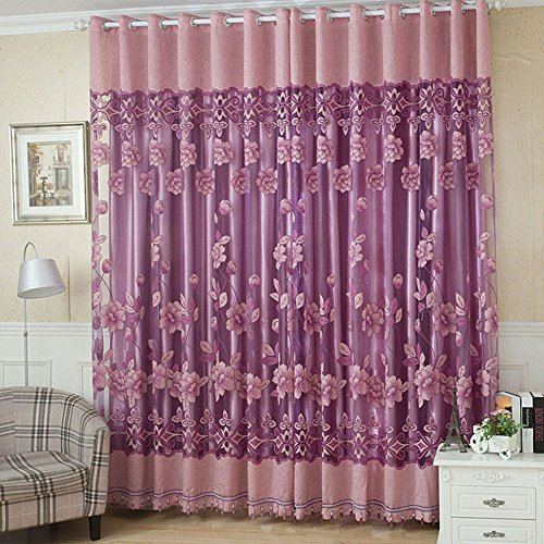 Weehey 2Pcs 100250cm Elegant Luxury High-end Floral Pattern Window Curtains with Beads Door Voile Curtain Window Drape Divider Room Wall Setting Wall Decoration Classy Window Treatments Size 39