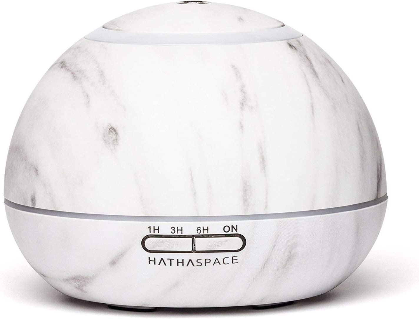 Hathaspace Marble Essential Oil Aroma Diffuser, 350ml Aromatherapy Fragrance Diffuser & Ultrasonic Cool Mist Room Humidifier, 18 Hour Capacity, BPA-Free, 7-Color Optional Ambient Light (White)