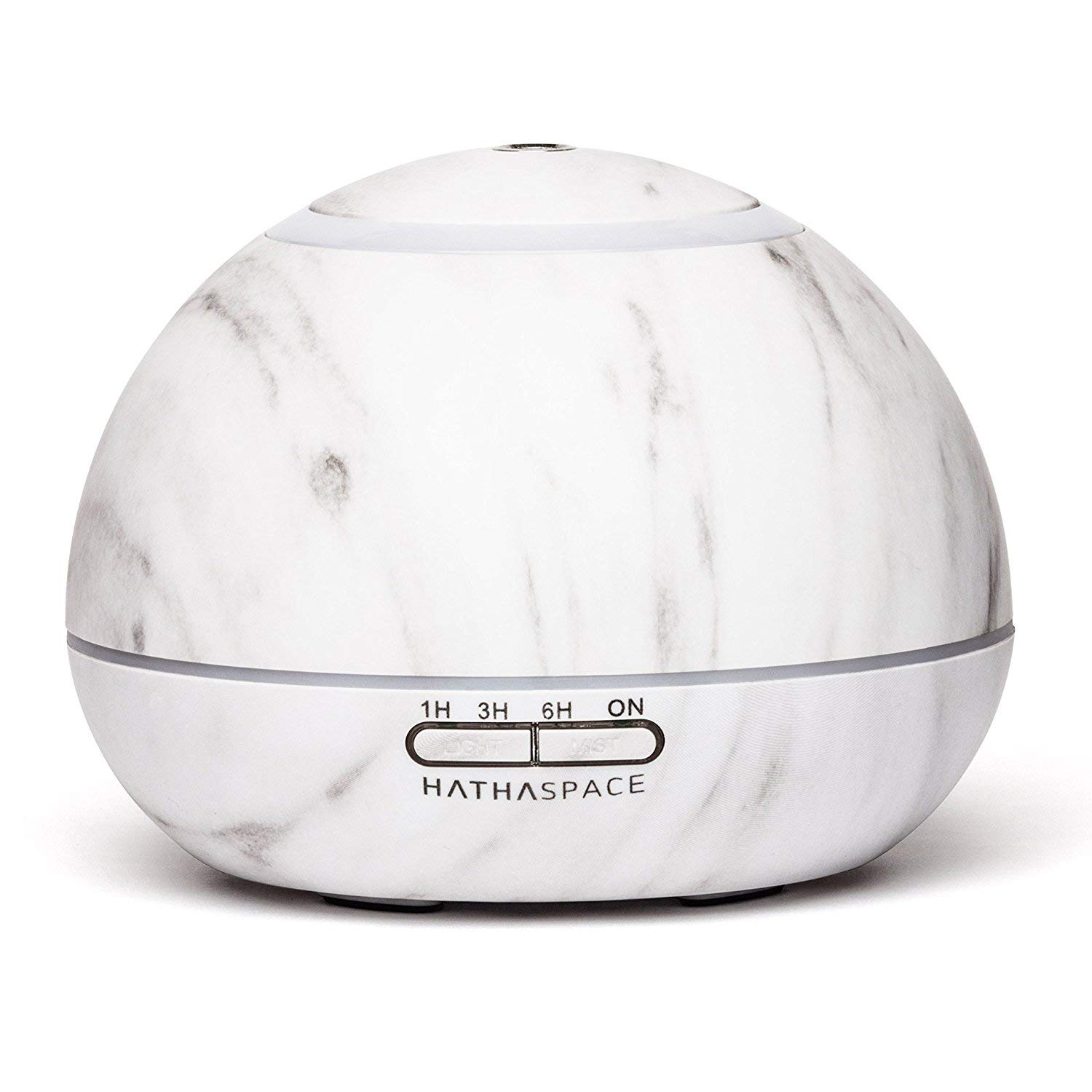 Hathaspace Marble Essential Oil Aroma Diffuser, 350ml Aromatherapy Fragrance Diffuser & Ultrasonic Cool Mist Room Humidifier, 18 Hour Capacity, BPA-Free, 7-Color Optional Ambient Light (White) by Hathaspace