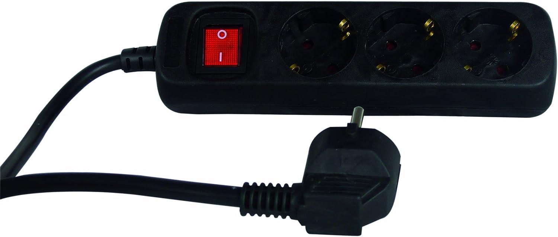 REV Ritter 0512371555 Multiprise 3 prises avec interrupteur et s/écurit/é enfant Noir 1,4 m