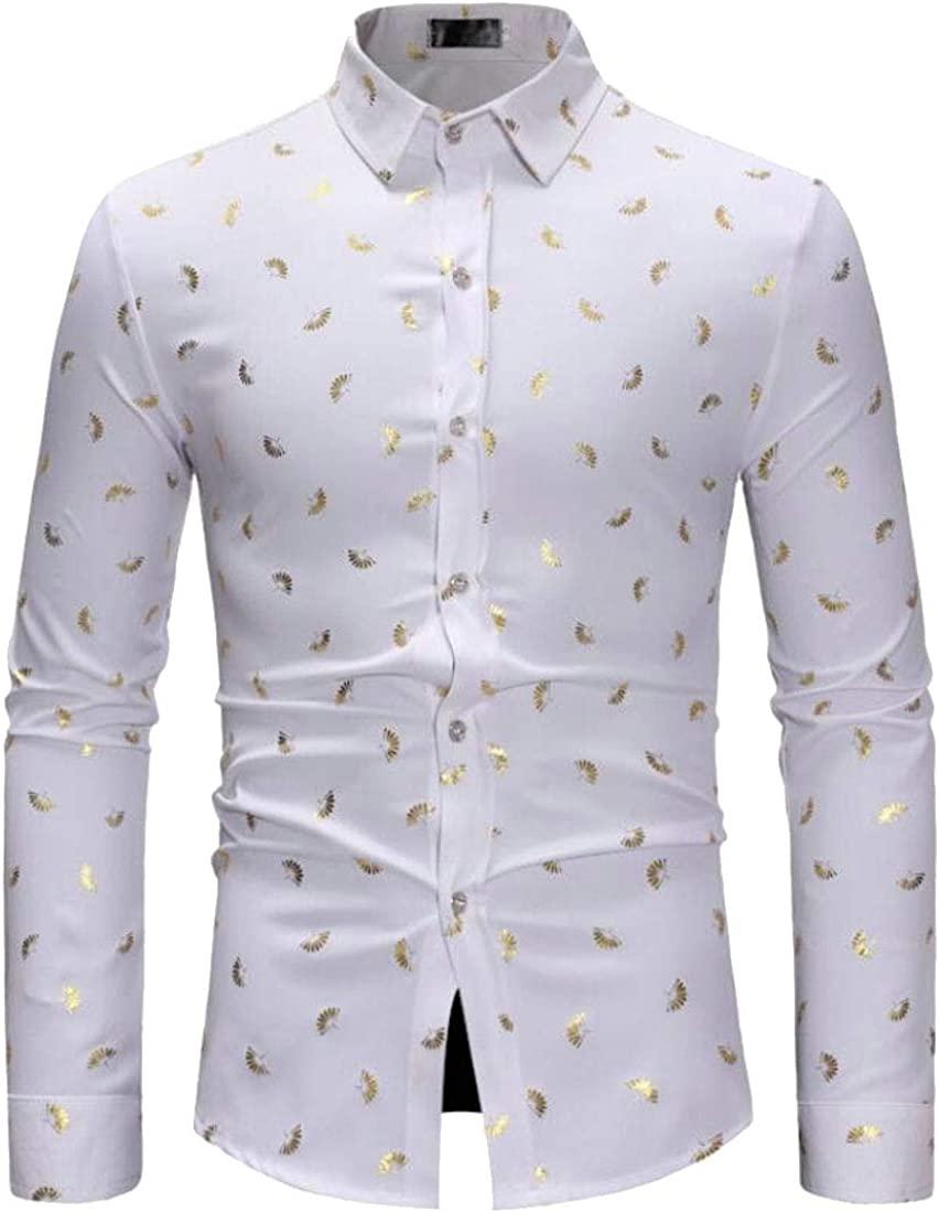 ARTFFEL Mens Long Sleeve Casual Regular Fit Floral Printed Trendy Button Down Blouse Shirt Tops