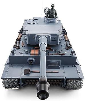 Ycco Heng Long German Tiger versión metálica tanque de control remoto vehículo todo terreno batalla infrarrojo modelo militar lanzamiento Radio Control 2.4G sistema + caja de cambios pistas (Metal) Ve: Amazon.es: Bricolaje