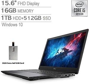 "2020 Dell Gaming G5 15.6"" FHD Laptop Computer, Intel Core i7-10750H, 16GB RAM, 1TB HDD+512GB SSD, Backlit Keyboard, GeForce GTX 1660 Ti, Webcam, HDMI, USB-C, Windows 10, Black, 32GB Snow Bell USB Card"
