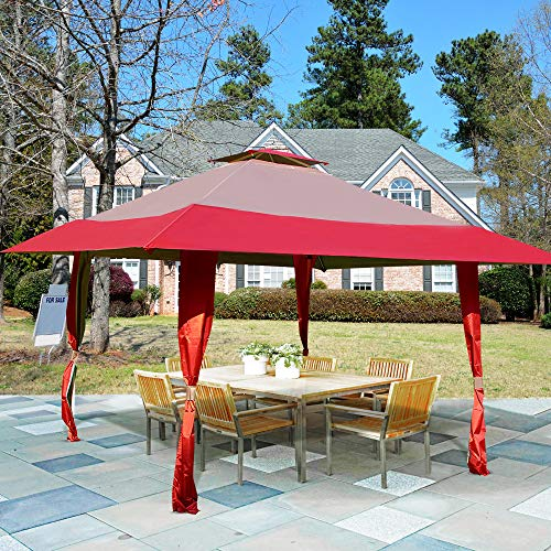 Homevibes 13 x 13 Pop Up Canopy Outdoor Patio Gazebo Tent Double Roof Easy Set Up Canopy Tent with Carry Bag for Garden, Yard, Party Event Burgundy Tan