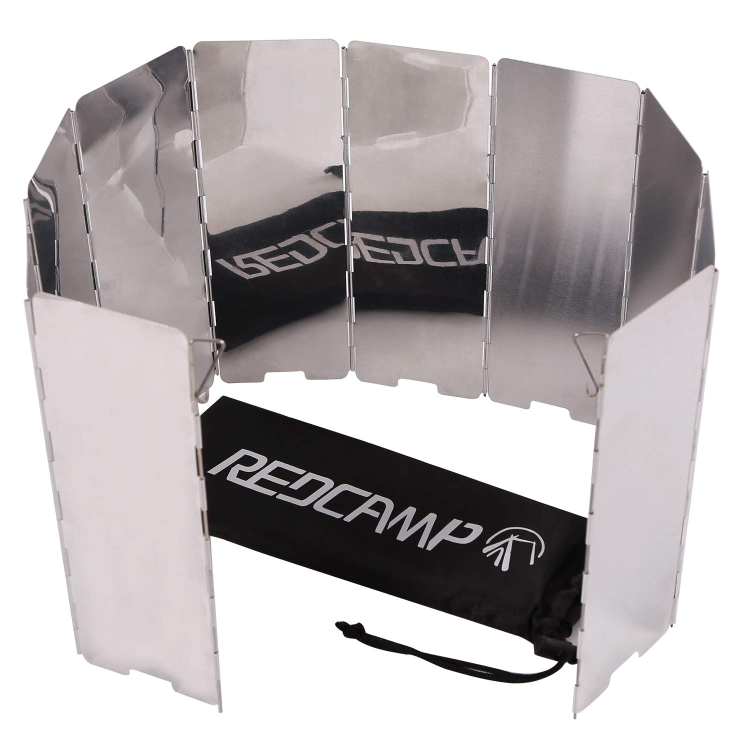 REDCAMP Folding Outdoor Stove Windscreen, 10 Plates Aluminum Camping Stove Windshield with Carrying Bag, Lightweight Butane Burner Windshield by REDCAMP