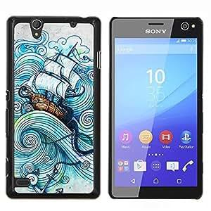 Planetar® ( Vela Buque Sea Storm Océano Capitán ) Sony Xperia C4 Fundas Cover Cubre Hard Case Cover