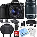 Canon EOS 80D CMOS DSLR Camera w/ EF-S 18-55mm + 55-250mm Telephoto Lens 64GB Bundle includes Camera, Lenses, Bag, 64GB SDXC Memory Card, Battery, Charger, 58mm Filter Kits, Beach Camera Cloth + More