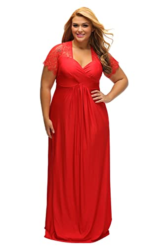 Lalagen Women's Lace Sleeve V Neck Plus Size Evening Maxi Dress Gown