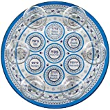 Glass Passover Seder Plate with Cups Floral Design (Light Blue)
