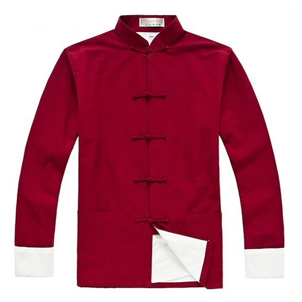 ZooBoo Men's Cotton Kung Fu Coats Tang Suit Long-Sleeved Jackets (XL, Dark Red)